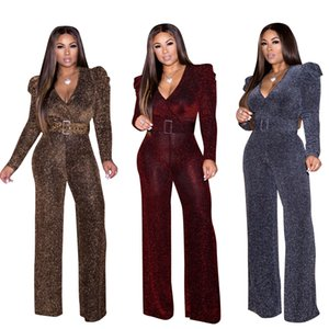 Women Glitter V neck Jumpsuit Pants Club Sexy Casual long sleeve Party office Ladies Ruffle velvet Sequins Rompers playsuit LJJA3634-13