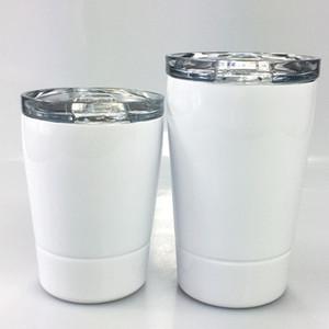 DIY حرارة التسامي 12OZ النبيذ نظارات القدح الاطفال Stemless الفولاذ المقاوم للصدأ بهلوان زجاجة المياه بهلوان صغيرة مع القش