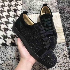 Wholesale Red Soles Suede & Black Rhinestone Strass Red Bottom Shoes Men Women's Flat Red Sole Shoes Low top Sneaker Lace-up Casual Shoes