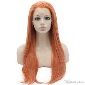 Frente del cordón de las pelucas sintéticas lado de la parte larga recta de oro rosa Rubio alta temperatura sin cola sintética del pelo del cordón de la peluca para las mujeres