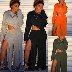 Femmes Casual Solide Tenue 2 Pièces Combinaisons Manches Longues Crop Top Slit Pantalons Jambes Larges Ensemble Survêtement Combinaison Irrégulière Barboteuses