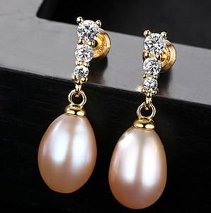 Süßwasser-Zuchtperlen Ohrringe baumeln Tropfen-Sterlingsilber-Ohrringe 8-9mm kultiviertes Perlen edlen Schmuck für Frauen Mädchen
