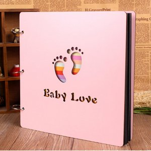 2018 12inch Color Wood Cover Handmade Loose-leaf Pasted Personalized Baby Lovers DIY Photo Album