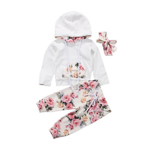 Baby Girl Clothes Infant Long Sleeve Hooded Tops Floral Pants Headband 3pcs Sets Flower Girls Outfits Winter Baby Clothing Set BT4937