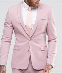 XLY 2019 Nuevo Light Pink Men Suit Slim Party Dress Groomsmen Tuxedo Para traje de boda en la playa Formal Blazer 2 piezas (chaqueta + pantalones)