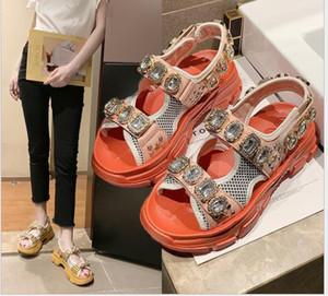 Летний новой корейской версии толстой подошве пляж обувь Стразы женские сандалии