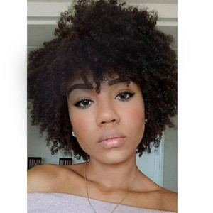 wholesale lady soft brazilian Hair short cut kinky curly wig Simulation Human Hair curly wig for women