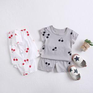 INS Girl Boy Kids clothing Baby Summer sets Round Collar Cherry style short sleeve Shirt + short sets Summer boy clothing sets