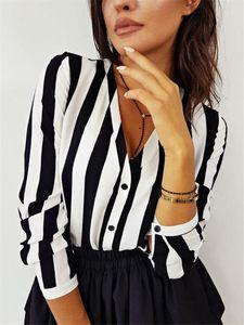 Meihuida Frauen Sommer Striped Mode Tops und Blusen elegantes V-Ausschnitt Bluse lose Harajuku Shirt Damen Tunika vintage camisa