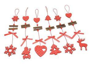 Red Christmas SnowflakesStarTree Holz Anhänger Ornaments Startseite Christmas Party Xmas Tree Kindergeschenke Dekorationen