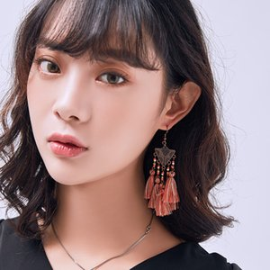 Dreieck-Entwurf Bohe Bunte Perlen Quaste Ohrringe für Frauen