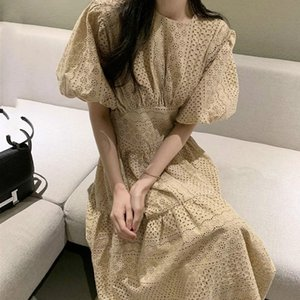 [EWQ] 2020 Summer Simple Casual Ladies Robe Runway Dress Sexy Hollow Out Embroidery Lace Long Dress Women Lantern Sleeve Dresses