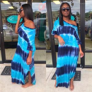 Seksi Uzun Etek Kısa Kollu Gece kulübü Elbise Bayan Moda Giyim Kadın Seksi Elbise Mavi Çizgili Dijital Baskı