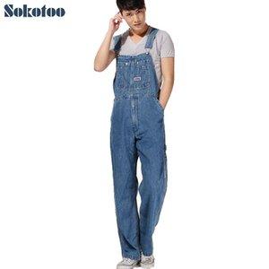 Sokotoo Erkekler artı boyutu Büyük boy büyük kot önlük pantolon Moda cebi jumpsuits Erkek Ücretsiz CJ191219 nakliye overalls