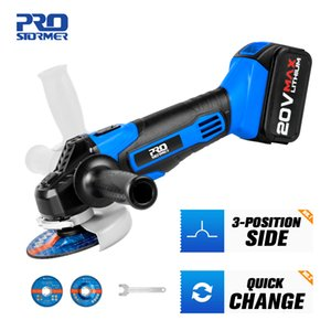Cordless Angle Grinder 20V Lithium-Ion 4000mAh Battery Machine Cutting Electric Angle Grinder Grinding Power Tool By PROSTORMER T200602