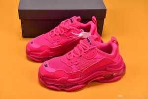 Triple S 3.0 Pink Paris casual Designer Shoes Clunky outdoor sneakers Air cushion bottom Latest release purple blue woman color And blue