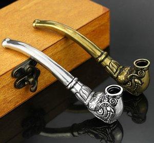 Nouveau laiton millésime tabac tabac tuyau de tabac pliant tabac cigarette argent filtre filtre métal tubes de forme dragon tête de forme innovante