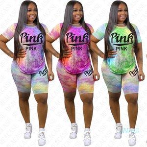 Мода Письмо печати Summer Shorts Набор для женщин из двух частей Casual Спортивная Tie Dye футболки и шорты Tracksuit Jogger Спортивная D42206