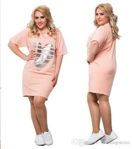 5XL 6XL Elbise Kadınlar Casual Gevşek Yaz AŞK Tişört Elbiseler Kısa kollu Artı boyutu Elbise Giyim