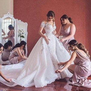 2020 Luxury Wedding Dresses with detachable train Sweetheart Off the shoulder Mermaid wedding dress Plus size Bridal gowns