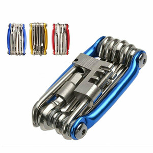 4 couleurs de vélo Outils de réparation vélo de poche multifonction pliable Outil 11 1 Vélo Spanner Wrench réparation Set Outils CCA11722 10pcs