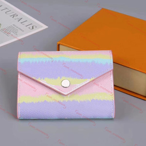 Billetera de tinte de lazo de diseñador para mujeres de lujo de lujo billetera con caja de tinte de tinta corta para Escale Summer Tie Dye Modeles de moda