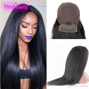 Malaysian Human Hair Kinky Straight 13X4 Lace Front Pre Plucked With Baby Hair Kinky Straight Coarse Yaki 8-30inch Lace Front Wigs