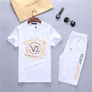 Summer New Brand Designer Tracksuit Fashion Running Mens Sports Short sleeve Suit Letter Slim Clothing Track Kit Medusa Luxury Sportswear