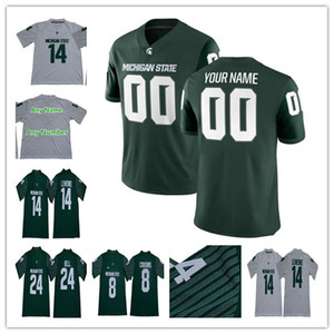 2019 NCAA College Camisas de Futebol do Estado de Michigan Spartans 14 Brian Lewerke 3 LJ Scott 8 Primos de Kirk 24 LeVeon Bell 18 Connor Cook Custom