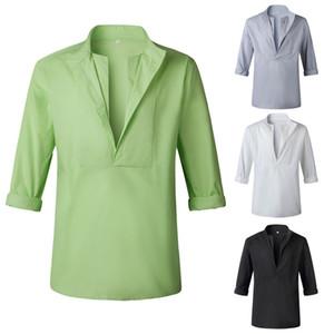 Erkek Yaz Tasarımcı Casual Tshirt Yeni Katı Renk Standı Yaka Gevşek Beachwear Casual Homme Tişörtü