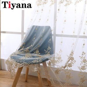 Tiyana Europe Gold Luxury Sheer Curtains Kitchen Beige Tulle Window Drapes Rose Embroidery Living Room Bedroom Decor ZH001X Y200421
