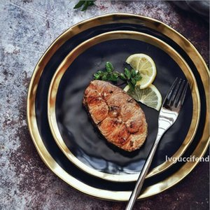 8inch 10inch Dinner food plate gold inlay round dishes luxury plates handwork tray food dish dinnerware kitchen rice plate black
