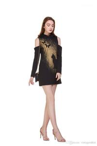 Vestido de las mujeres del verano de los vestidos del diseñador del rocío de la manga larga de las señoras vestido de la manera del palo de Halloween sudaderas Impreso