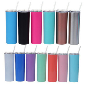 New 20oz Skinny Tumbler Stainless Steel Water Bottle Classic Tumbler With Straws Double Wall Vacuum Insulated Beer Cups Travel Mug IIA189