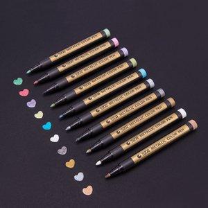 10 جهاز كمبيوتر شخصى / مربع ملون رسم الطلاء أقلام ماركر DIY المعادن للماء الدائم الطلاء أقلام ماركر طالب مستلزمات الحرف القلم
