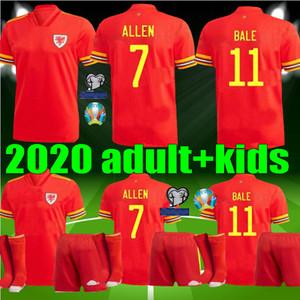 Copa de Europa de 2020 kits de Jersey del fútbol hombres hijos Gales 20 21 BALE ALLEN James Wilson Ben Davies varones adultos camiseta de fútbol rojo casero