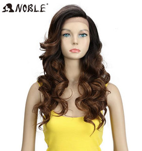 2020 New Noble T Part Lace Front ombre blonde Wig 22 Inch Long Wavy Synthetic Wigs Full I Part Wigs 3 Colors Choice Free Shipping