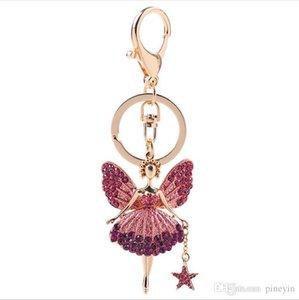 fashion crystal keychain with angel kirin flower key rings pendant key chain jewelry model no. NE950