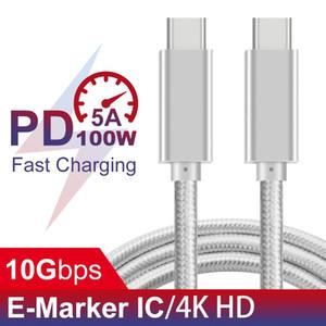 Tipo-C de tipo C PD100W 5A PD rápido cabo de carregamento USB C para Huawei Samsung Nexus LG trançado raio compatível 3