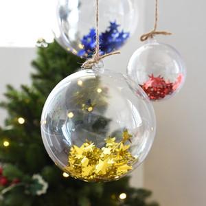 10 Pairs 4/5/6 centimetri trasparente aperto plastica Decorazioni di Natale a sfera trasparente della bagattella ornamento presente del regalo decorazione della scatola
