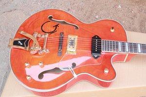 51 세미-중공 재즈 대형 로커 일렉트릭 기타 좋은 타이거 메이플 오렌지 A