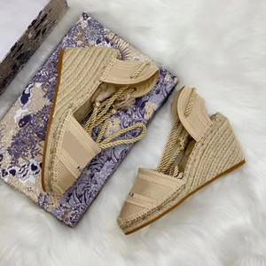 2020 Платформа Стро Клин Espadrilles сандалии обувь Женские сандалии полосы Denim дизайнер Повседневная обувь Высокие каблуки обуви платье с коробкой 5-41