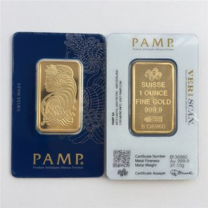 다른 일련 번호 1온스 골드 바 PAMP 스위스 레이디 포르투나 Veriscan 고품질 골드 도금 바 비즈니스 선물 금속 공예