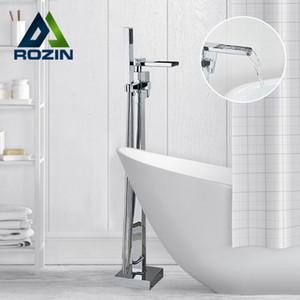 Rozin Badewanne Dusche Wasserhahn Chrom Freistehendes Wasserfall Badewanne Armatur Bodenmontage Hot Kältebad Mischer-Hahn mit Handdusche