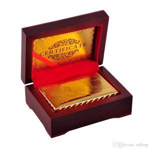 La hoja de oro de 24 quilates chapado Card Poker Jugar juego de cartas de alto grado de Deportes, Juegos, Caja de regalo con al por mayor Tarjeta de Certificado