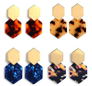 Серьги с гексагональной бриллиантом из акриловой смолы - женские польские серьги-бохо