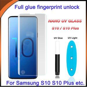 UV liquide protecteur d'écran Cas amical complet colle bord incurvé en verre trempé pour Samsung S10 S10 plus d'empreintes digitales déverrouiller S9 Note 9 S10 S8