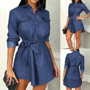 Kadın Kaliteli Sonbahar Denim Elbiseler Giyim Artı boyutu Kadın Jeans Elbise Şık Bahar İnce Kovboy Günlük Elbiseler