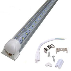 8 pies T8 Led tubos de luz 3 pies 4 pies 5 pies 6 pies 8 pies V LED en forma fresca de la puerta del congelador tubos de iluminación tienda de doble hilera ilumina accesorio