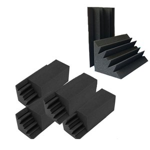 جديد 8 حزمة من 4.6 في x 4.6 في x 9.5 الأسود عازل للصوت العزل باس فخ سور الصوتية جدار رغوة الحشو استوديو رغوة البلاط (8P